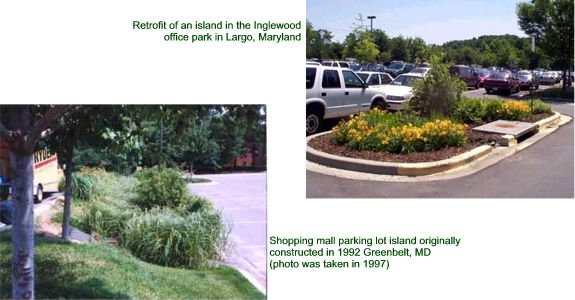 Collage of Parking Lot Bioretention Islands