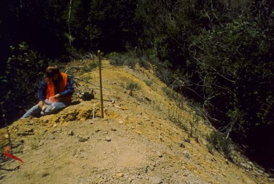 Soil Sampling at Cabin Branch Mine Restoration Project, Craters of the Moon National Monument, Idaho