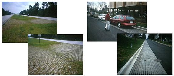 Examples of using permeable pavers in transportation scenarios.